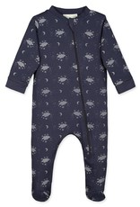 Feather Baby Zipper Footie, Night Sky on Indigo
