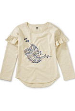 Tea Hanging Out Ruffle Graphic Tee, Oatmeal