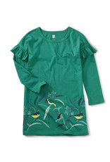 Tea Bird Border Ruffle Dress