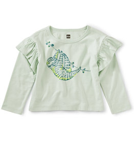 Tea Sloth Ruffle Graphic Tee, Mint Chip