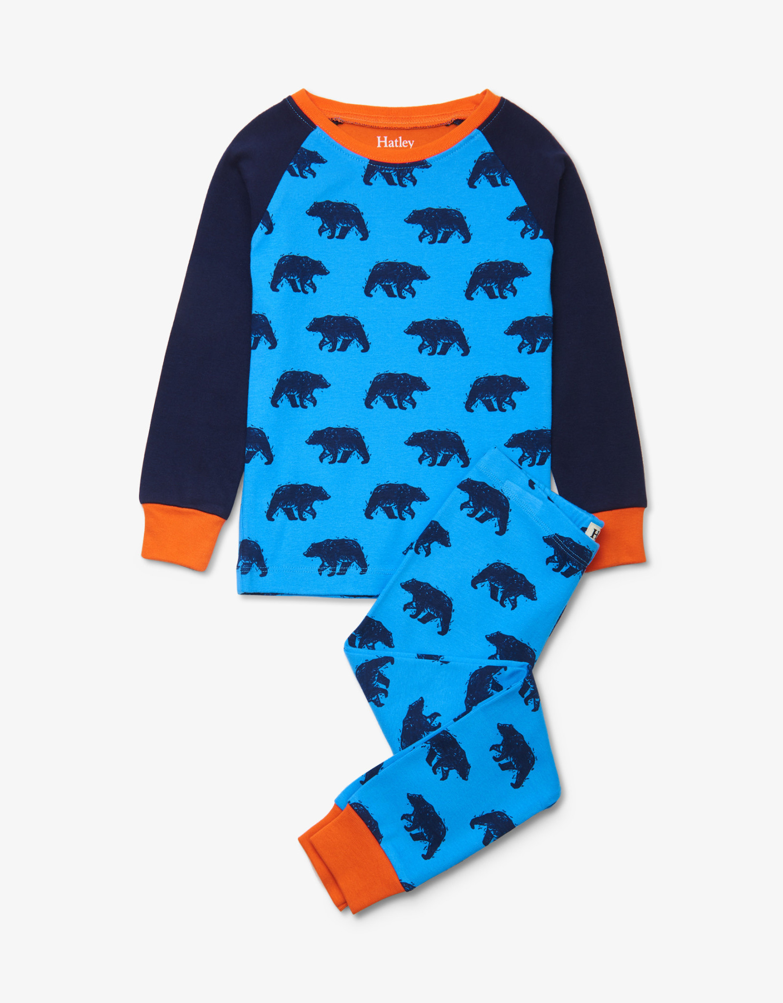 Hatley Blue Bears Organic Cotton Raglan Pajama Set