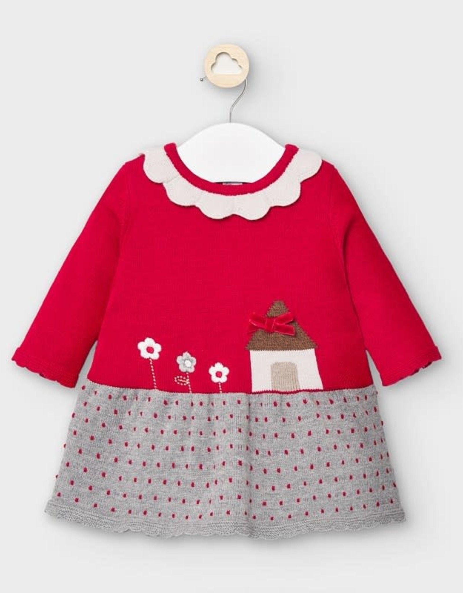 Mayoral Knit Dress - House - Red/grey