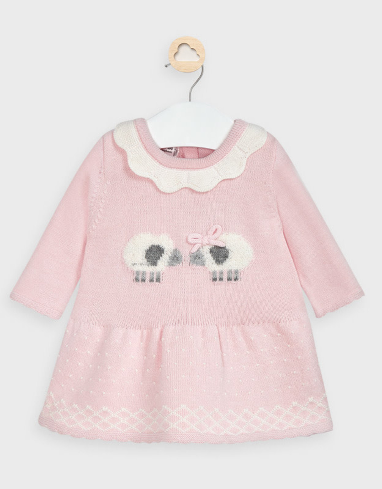 Mayoral Knit Dress - Sheep - Light Pink/white