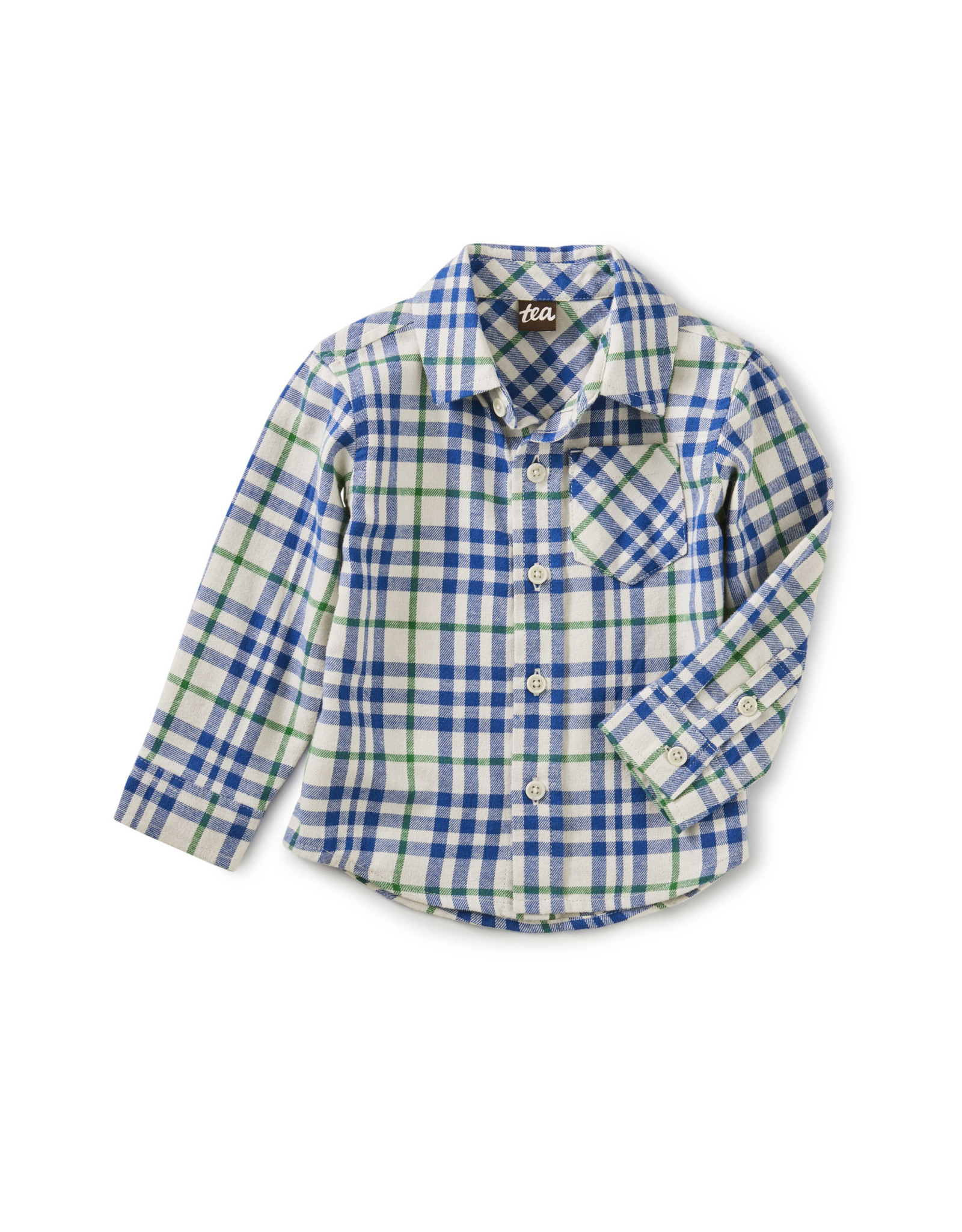 Tea Flannel Baby Shirt, Alpamayo Plaid