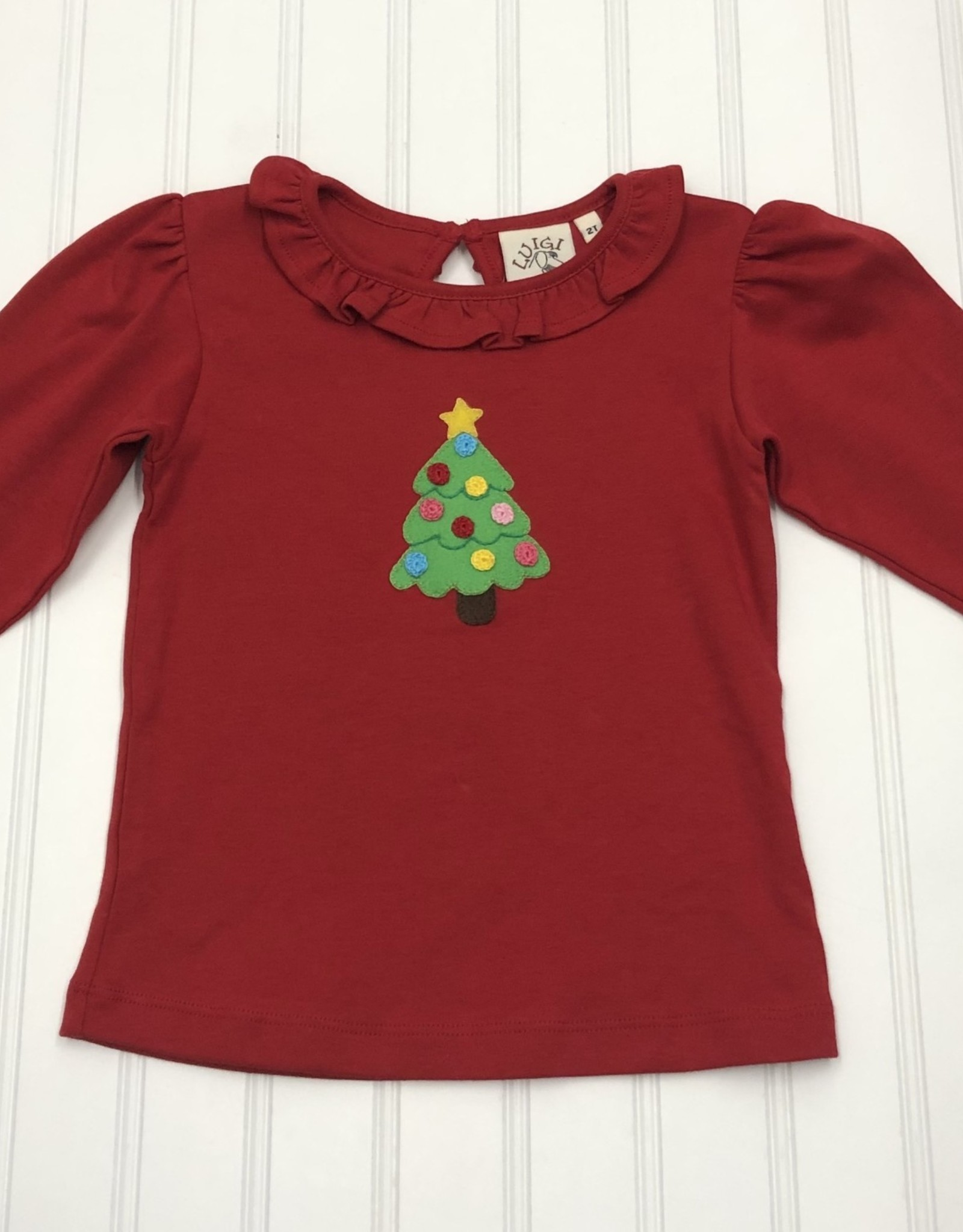 Luigi Long Sleeve Ruffle Neck Shirt w/ Christmas Tree