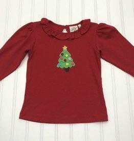 Luigi Long Sleeve Ruffle Neck Shirt w/ Christmas Tree