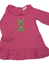 Luigi Long Sleeve Dress w/ Ruffle Neck - Pink - Puppy