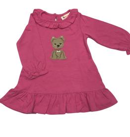 Luigi Long Sleeve Dress w/ Ruffle Neck - Pink - Puppy