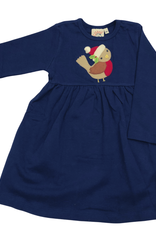 Luigi Long Sleeve Dress - Dk. Royal - Bird w/ Santa Hat