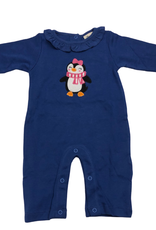 Luigi Ruffle Neck Romper - Royal - Penguin