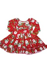 Be Girl Barbie Dress- Red & Green Floral Holiday