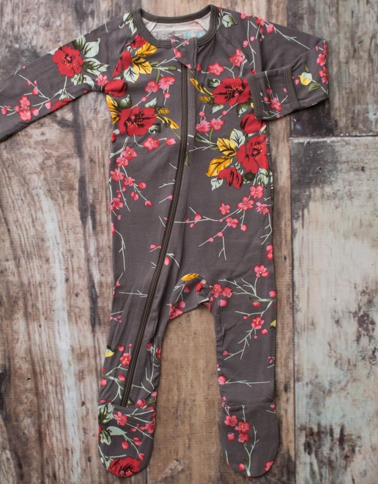 Bestaroo Footie - Cherry Blossoms - Charcoal