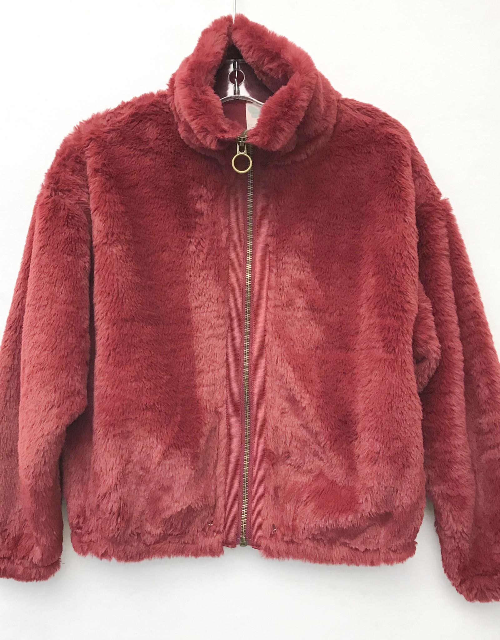 For All Seasons Faux Fur Jacket - Burgundy