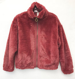 For All Seasons For All Seasons Faux Fur Jacket - Burgundy