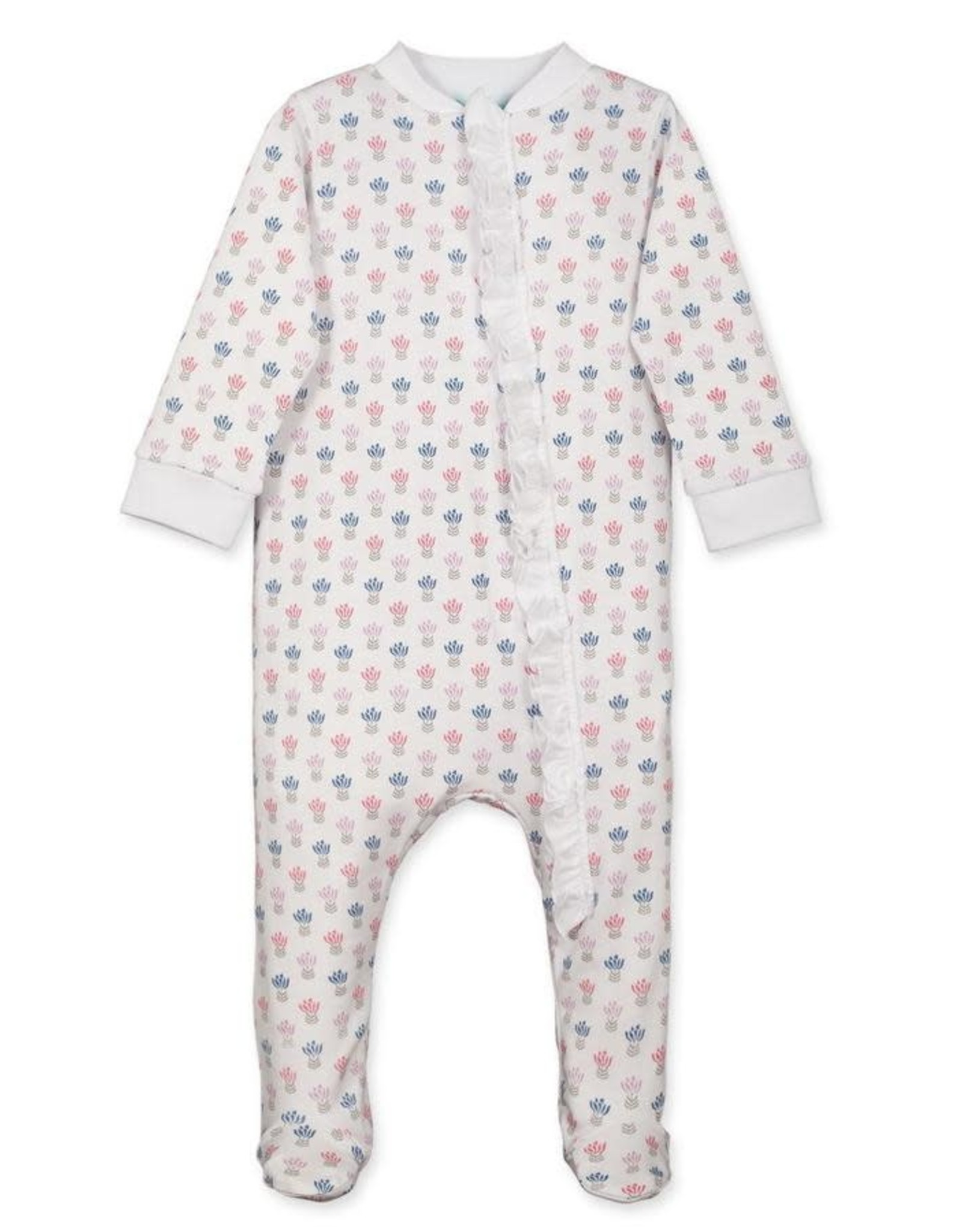 Feather Baby Zipper Footie w/ Ruffle - Penelope Floral on White