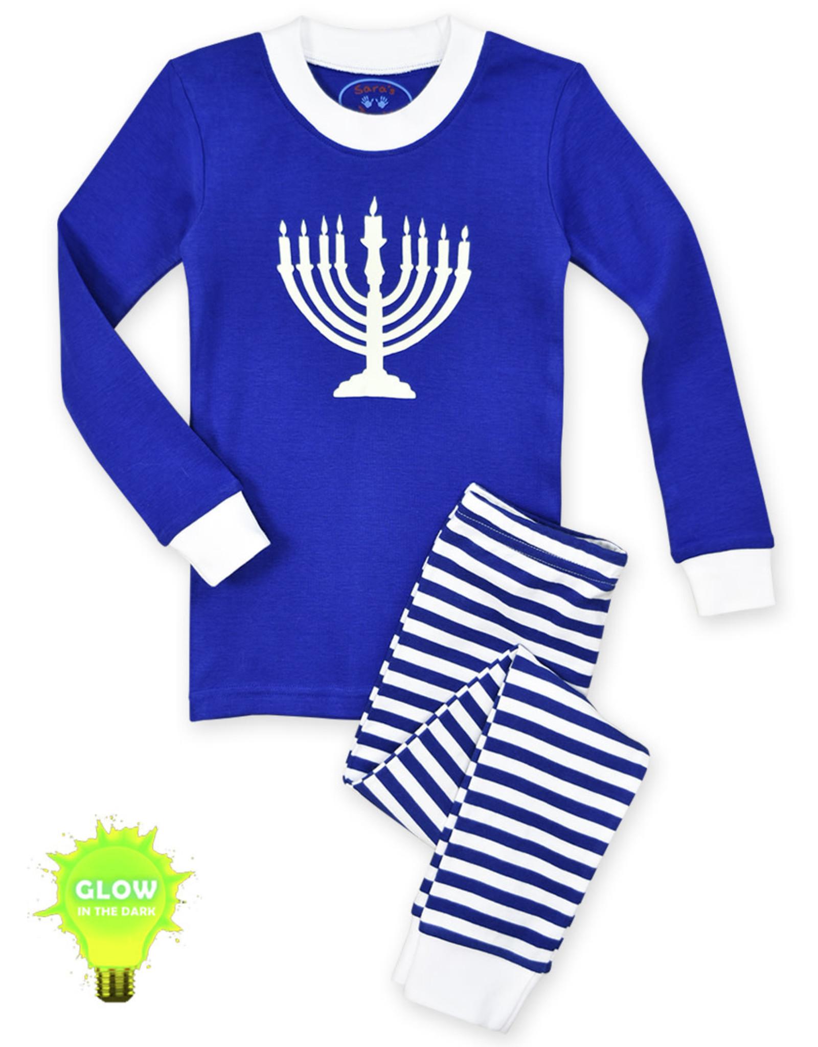 Sara's Prints Hanukkah Pajamas, Glow in the Dark Menorah