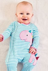 Jojo Maman Bebe Striped Footie with Pink Dino Applique