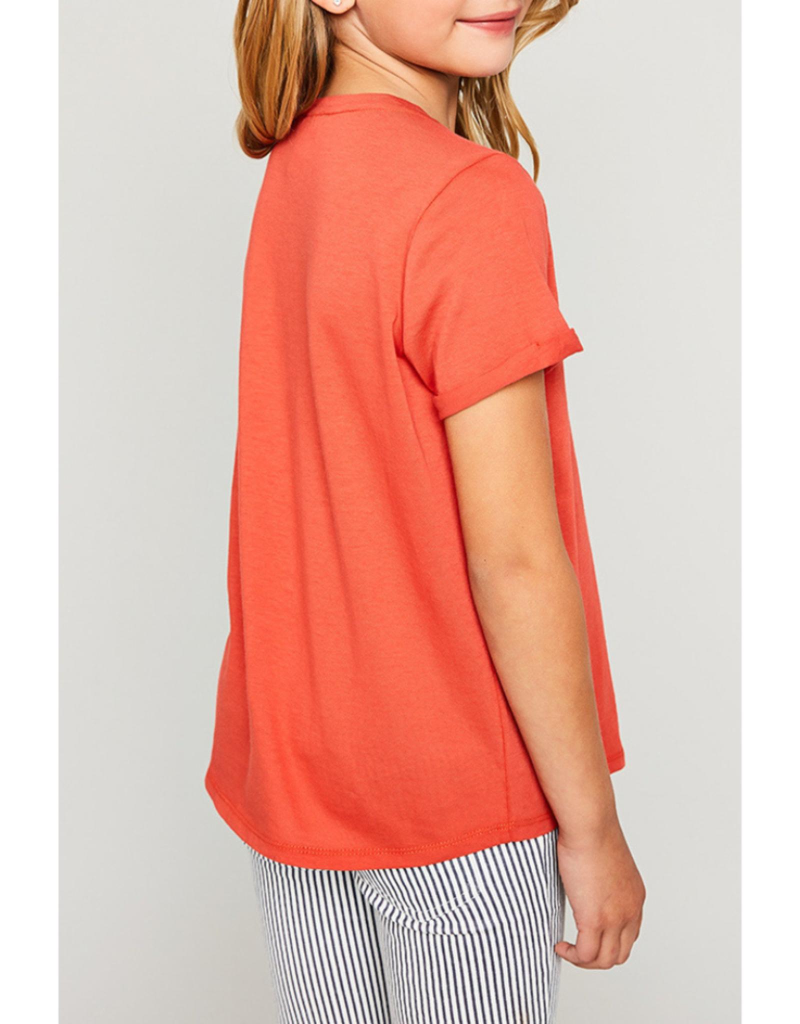 Hayden Girls Criss Cross T-Shirt - Tomato