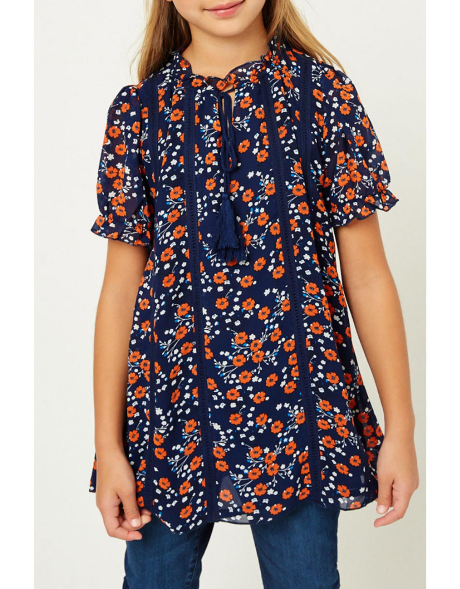 Hayden Girls Navy Tunic w/ Orange Flowers