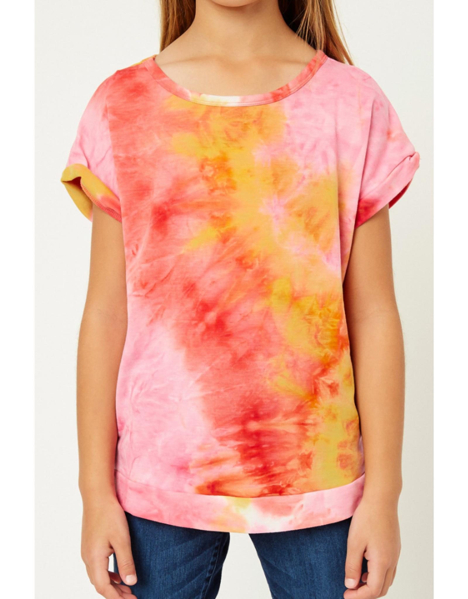 Hayden Girls Hayden Girls Tie Dye Shirt - Pink/Yellow