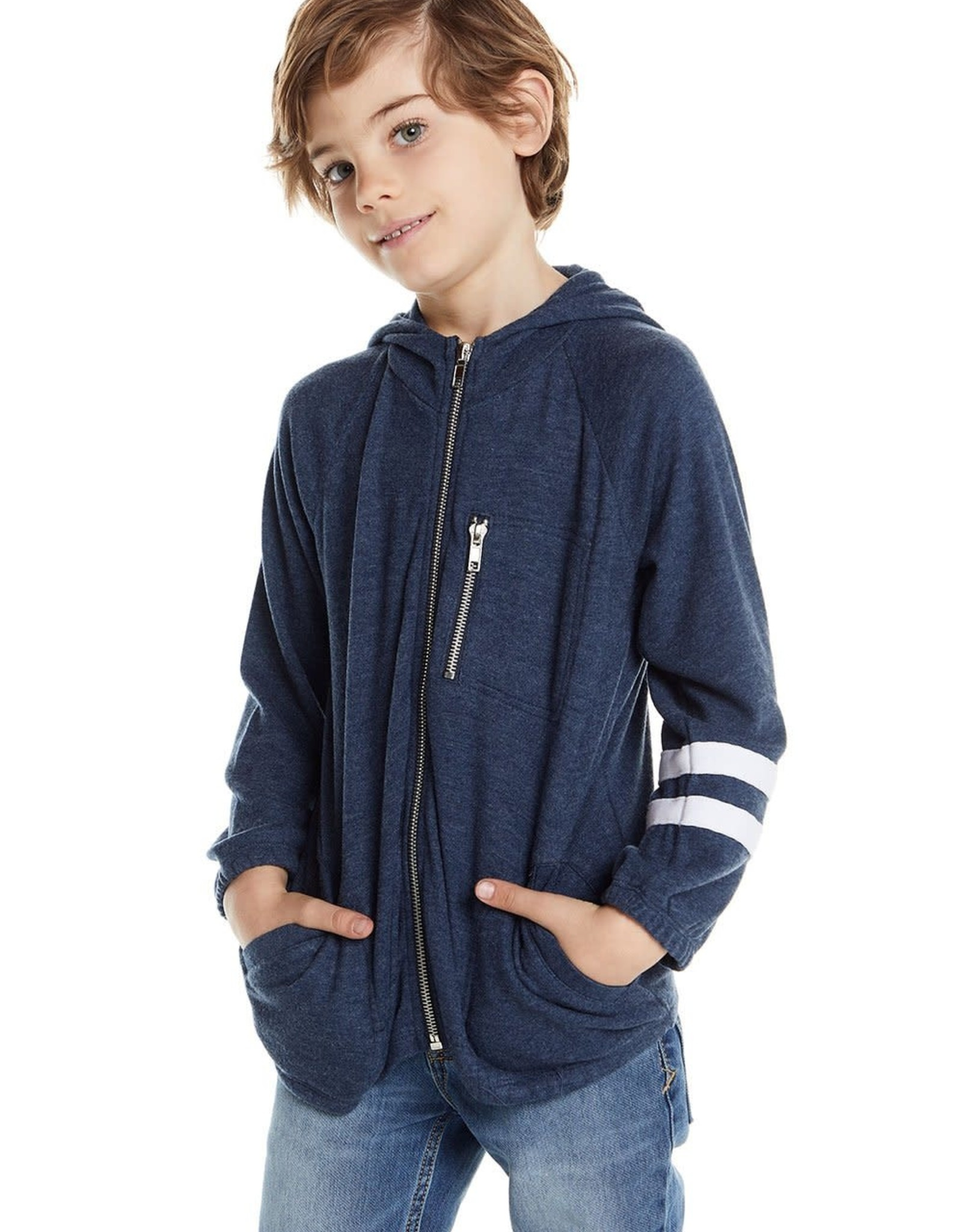 Chaser Boys Love Knit LS Hoodie with Strappings
