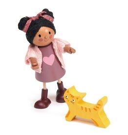 Tender Leaf Tender Leaf Ayana and her Cat - Wooden Doll Set