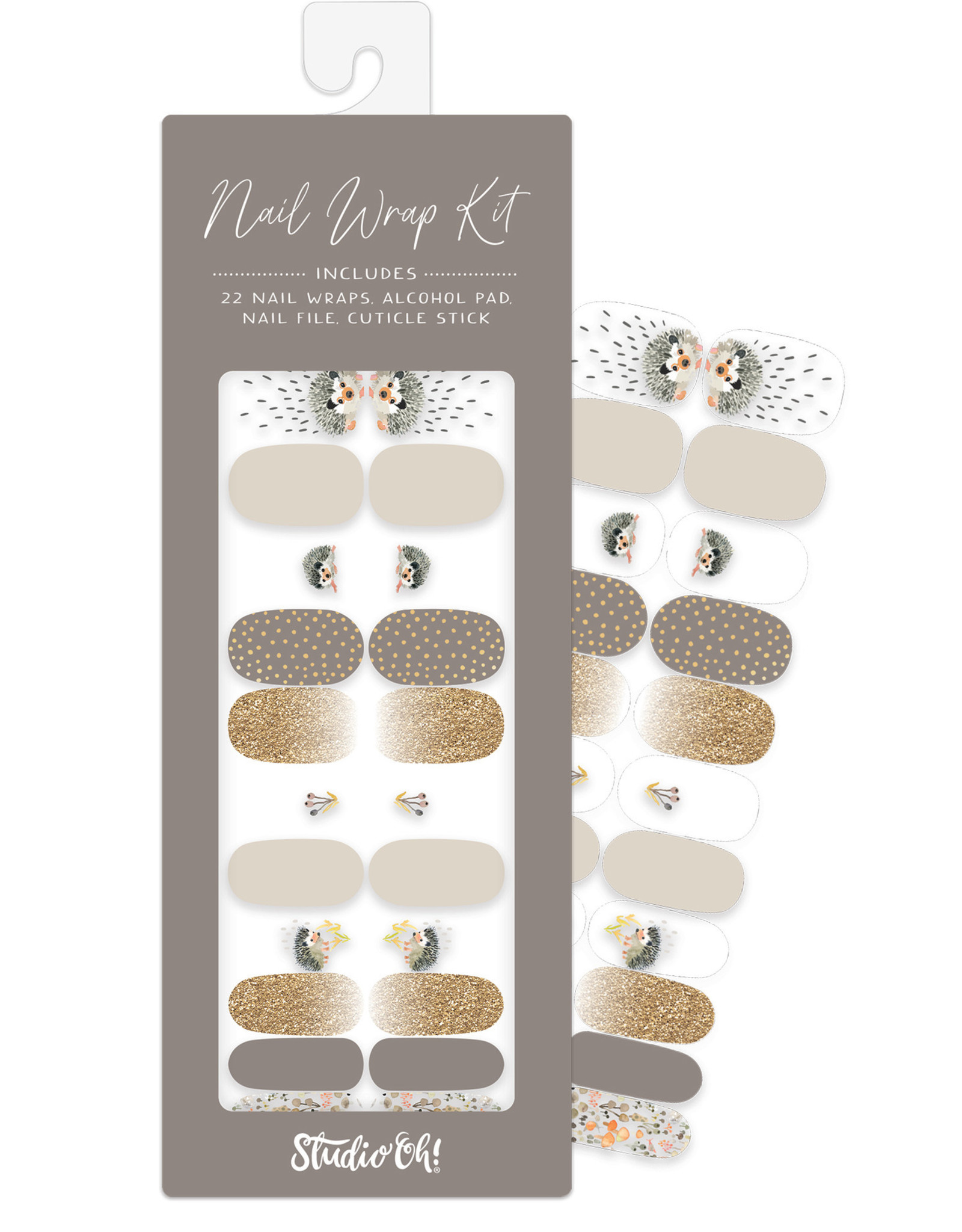 Studio Oh! Studio Oh! Nail Wrap Kit, Hedgehogs