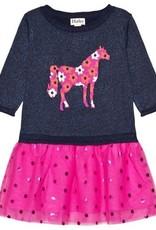 Hatley Floral Horse Drop Waist Tulle Dress