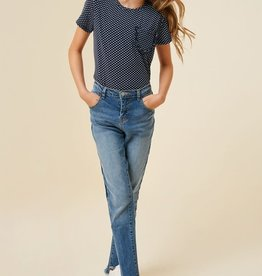 Hayden Girls Stone Washed Frayed Ankle Jeans