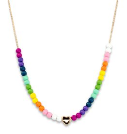 Charm It! 4mm Gold Rainbow Bead Necklace