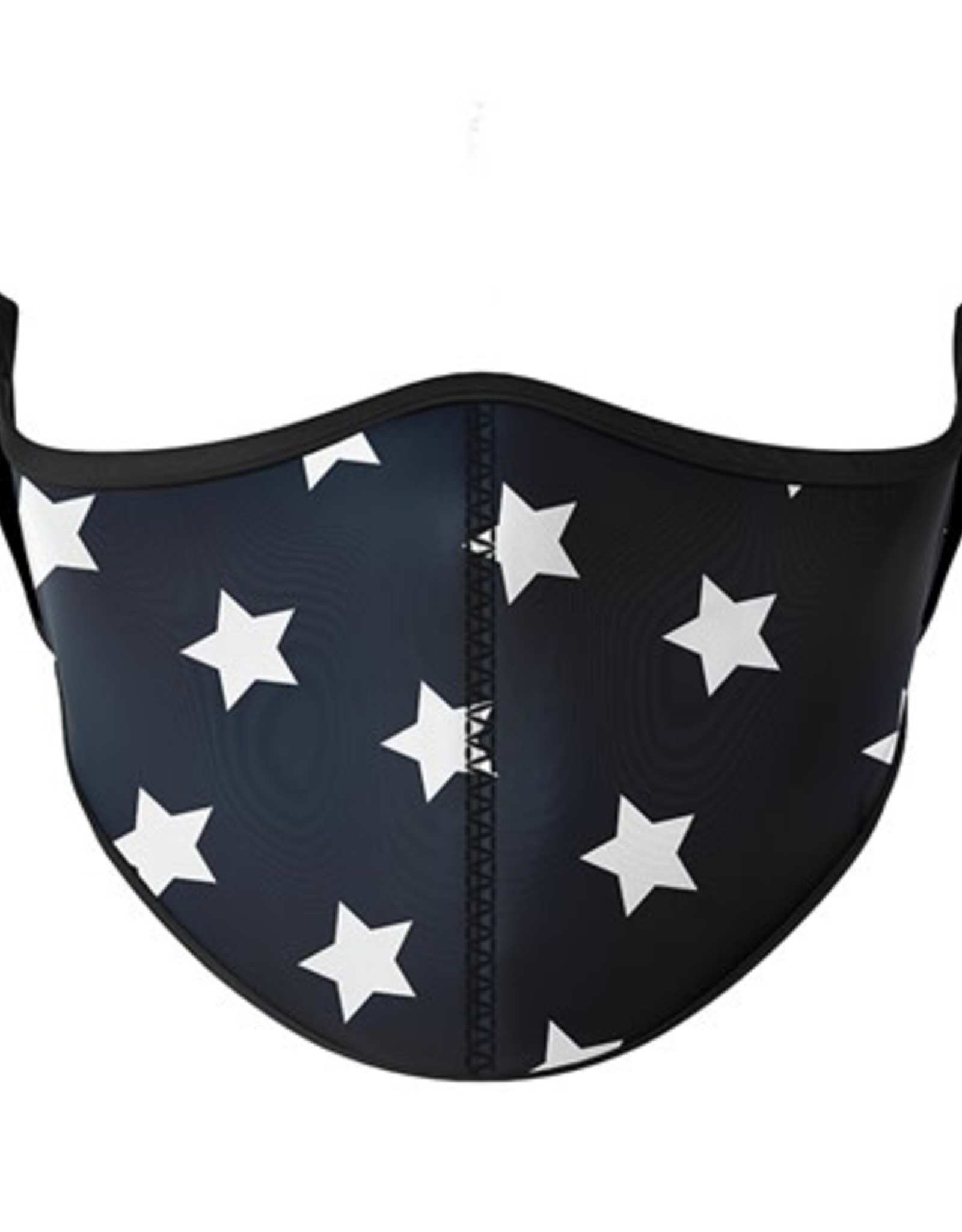 Top Trenz Fashion Face Mask, Large, White Star with black background