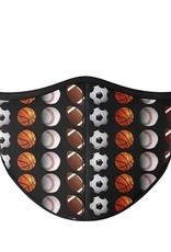 Top Trenz Fashion Face Mask, Large, Sports Black Multi