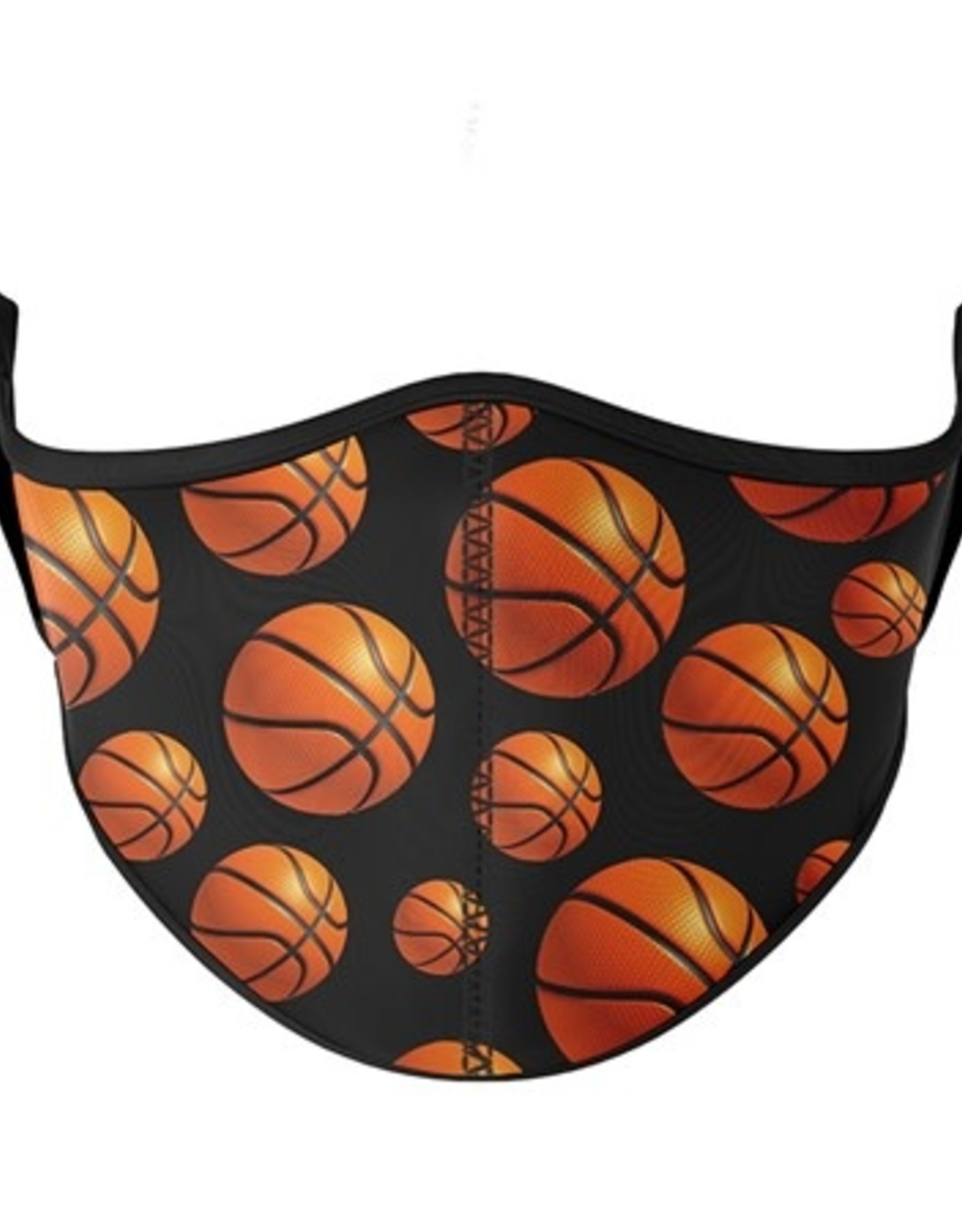 Top Trenz Fashion Face Mask, Large, Basketball with Black Background