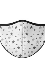Top Trenz Fashion Face Mask, Large, White with Grey Stars