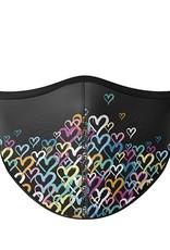 Top Trenz Fashion Face Mask, Large, Graffiti Black Heart