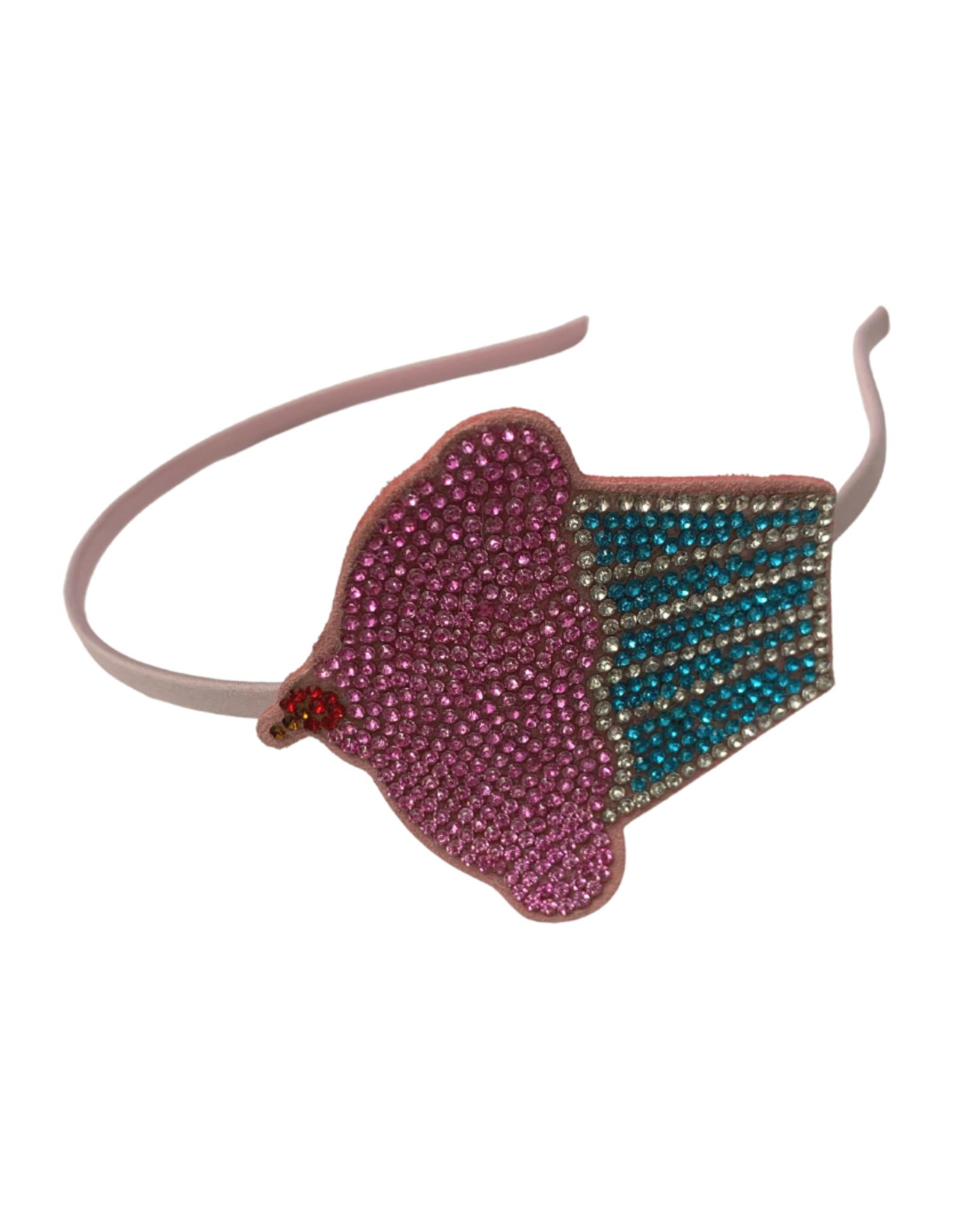 Bows Arts Rhinestone Motif Headband - Cupcake