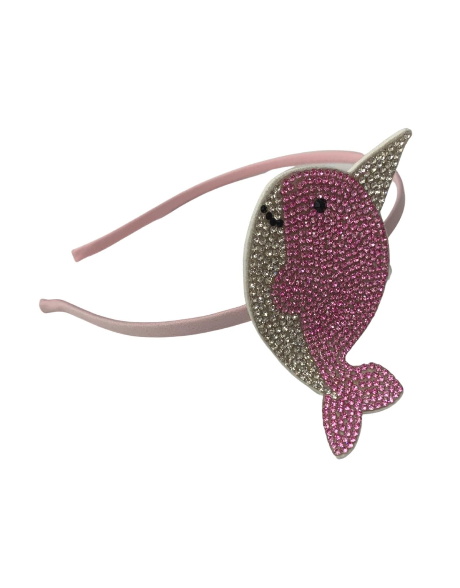 Bows Arts Rhinestone Motif Headband - Narwhal