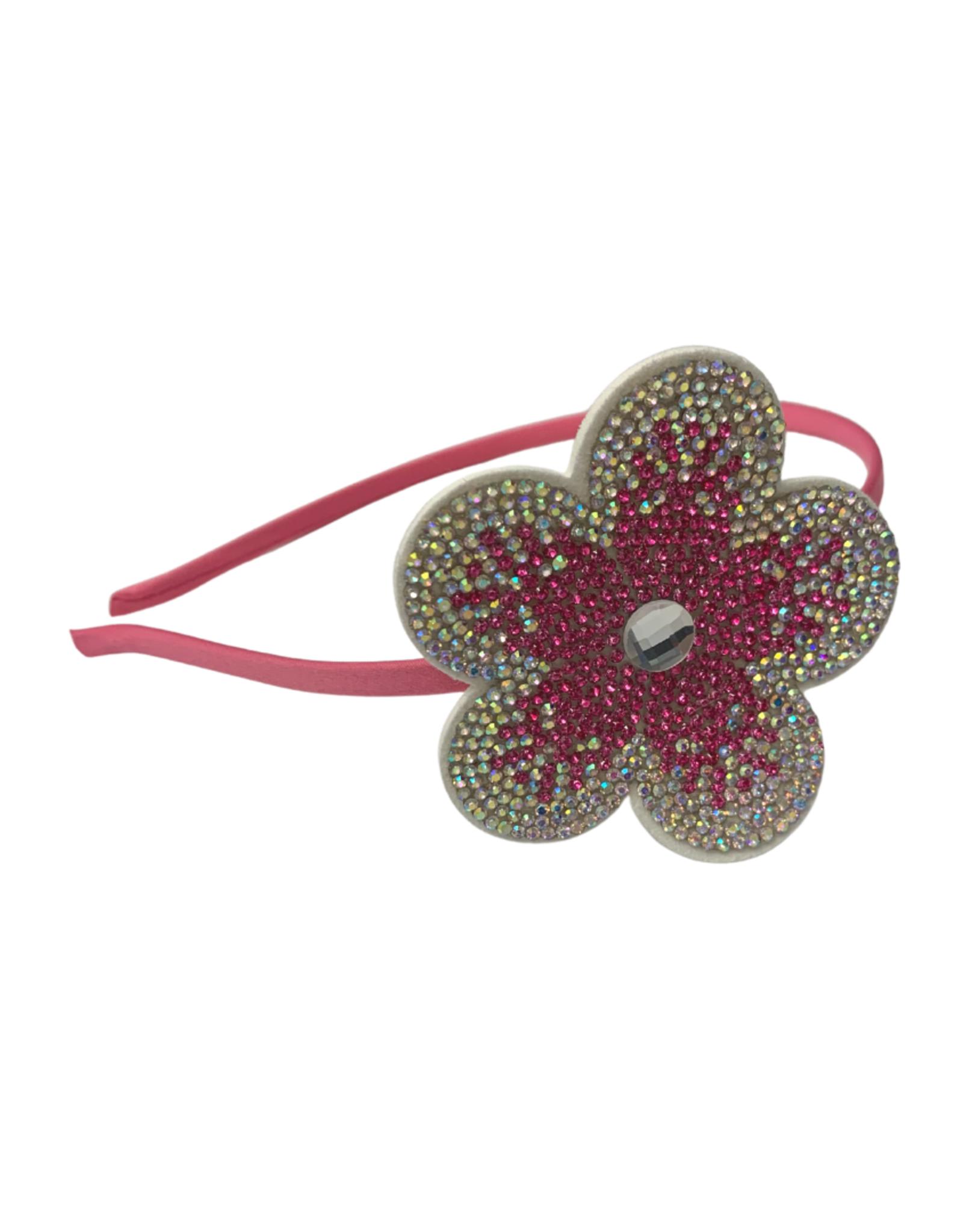 Bows Arts Rhinestone Motif Headband - Flower