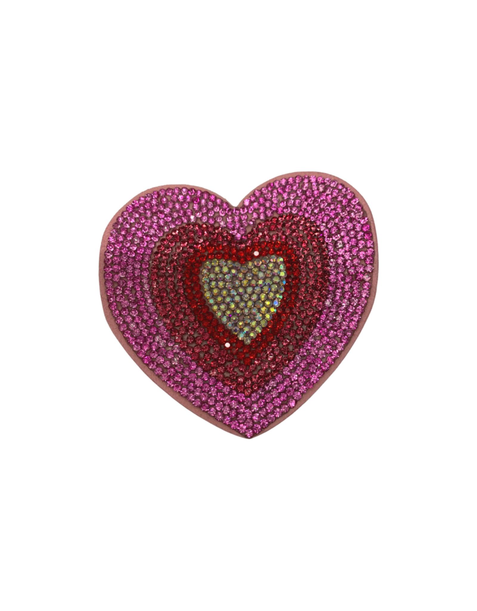 Bows Arts Rhinestone Motif Clip - Multi Heart