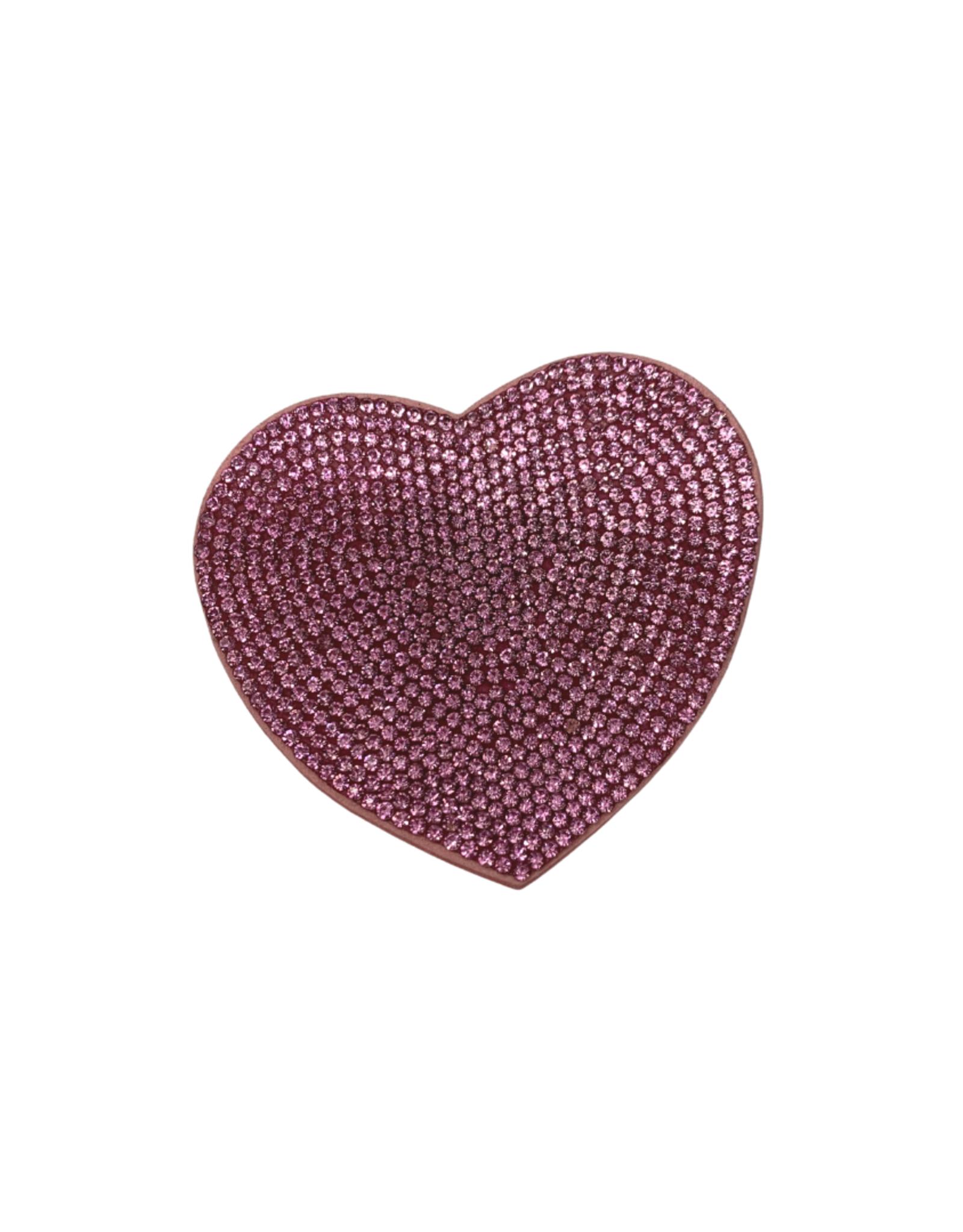 Bows Arts Rhinestone Motif Clip - Pink Heart