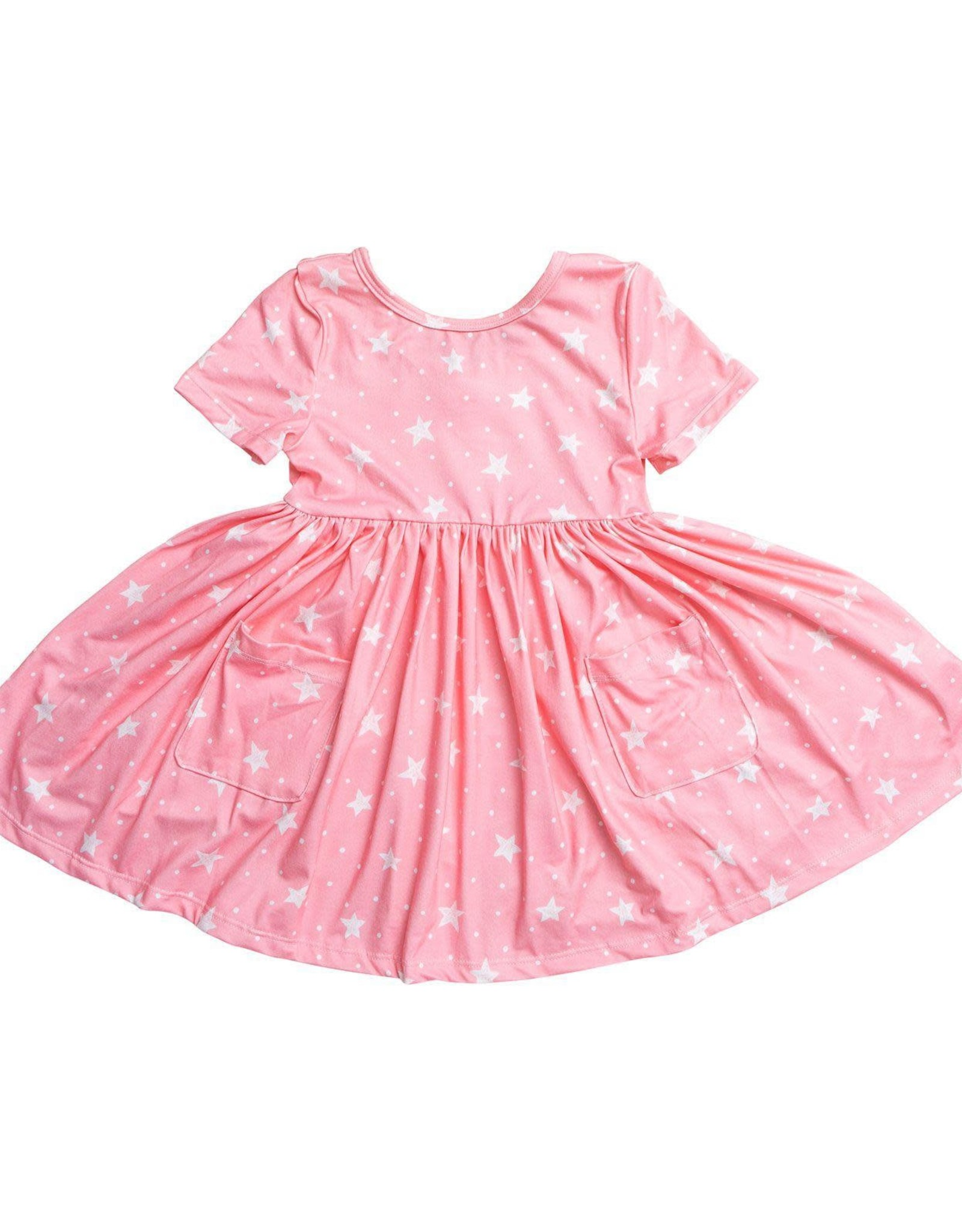 Mila & Rose Pink Star Pocket Twirl Dress, Short Sleeve