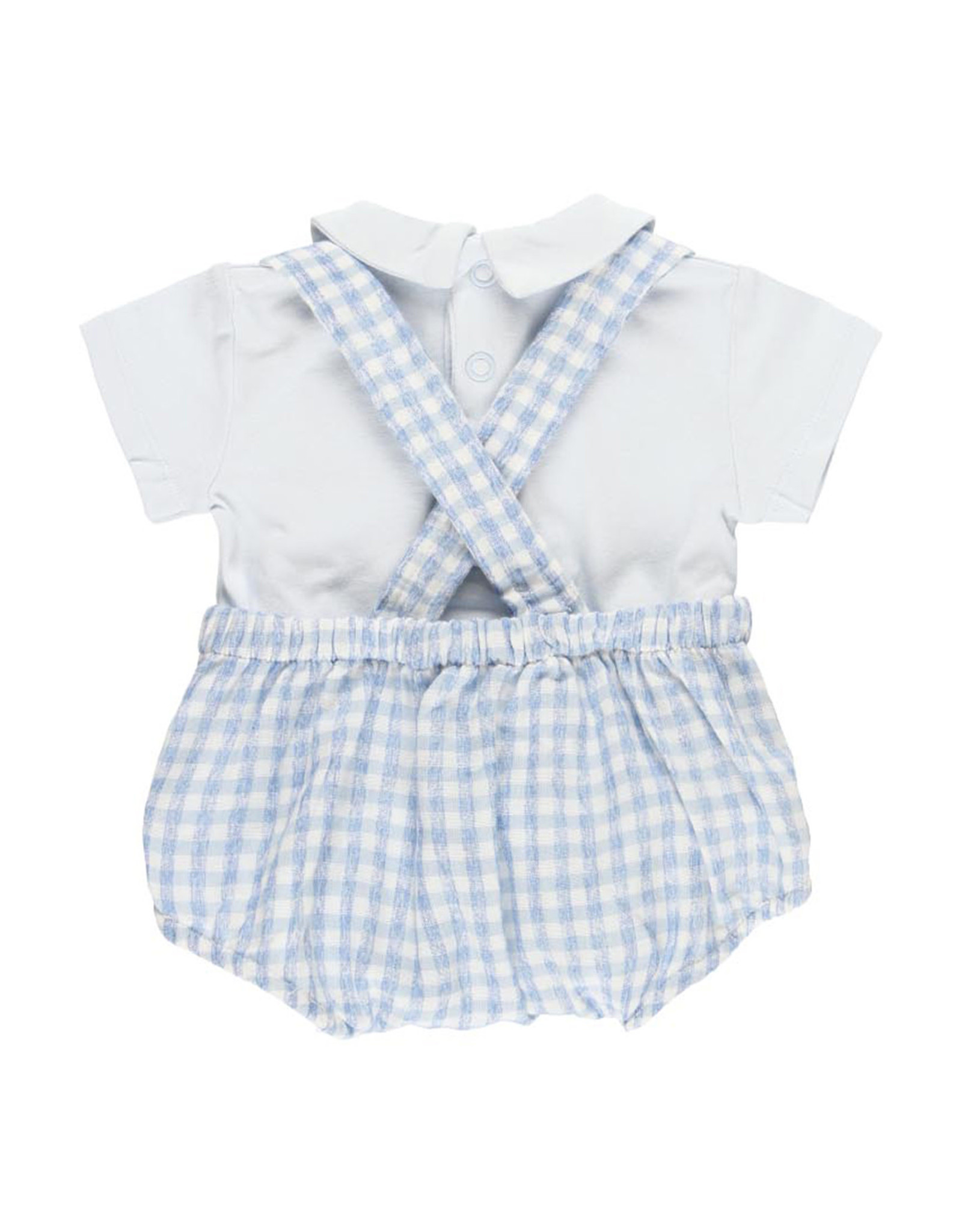 Boboli Checked Romper with Shirt, Snail