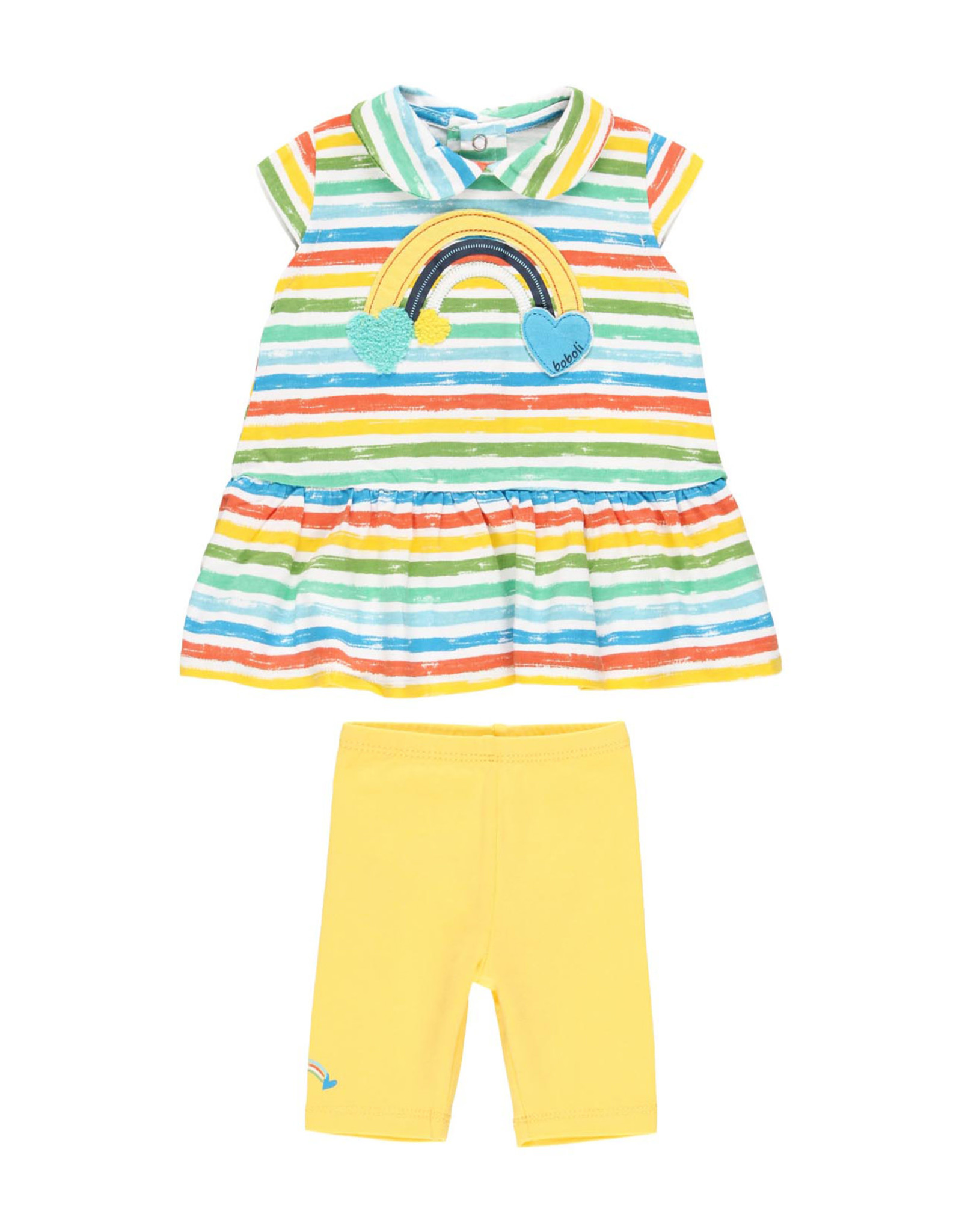 Boboli Shirt and Leggings Set, Striped, Rainbow