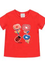Boboli Floral Tee Shirt with Ladybug