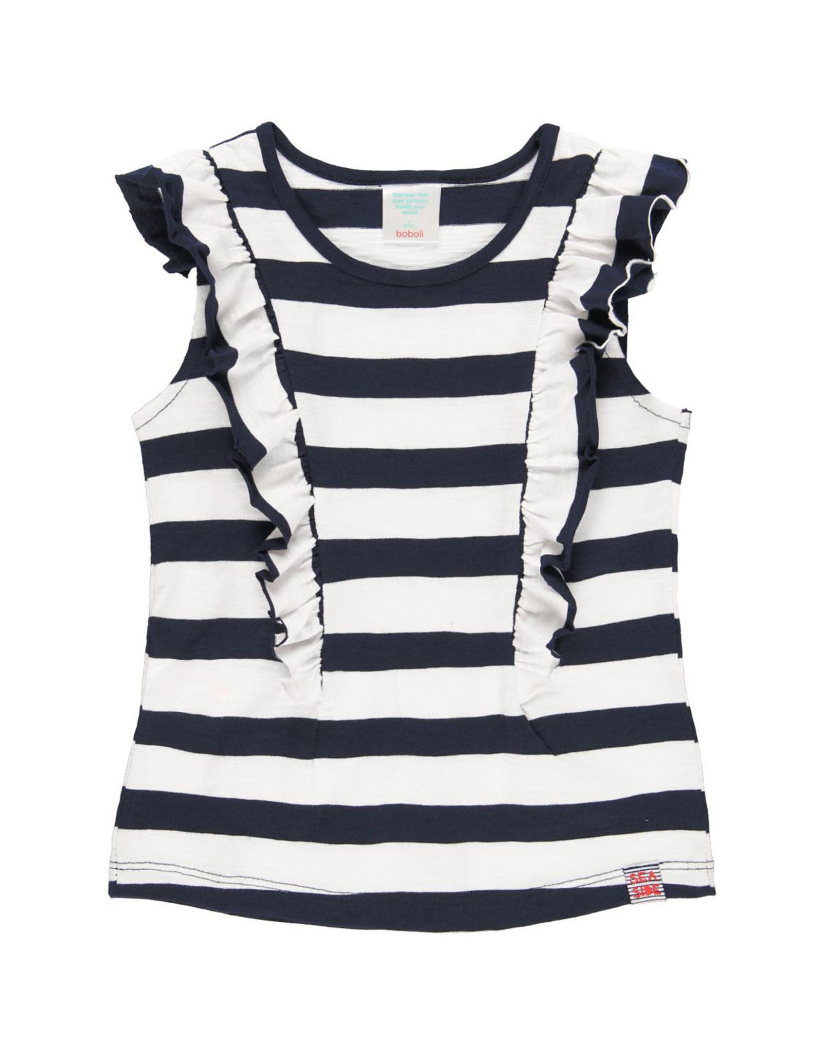 Boboli Sleeveless Striped Shirt, Ruffles, Navy + White