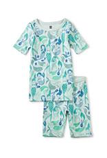 Tea Printed Shortie Pajamas, Mermaids