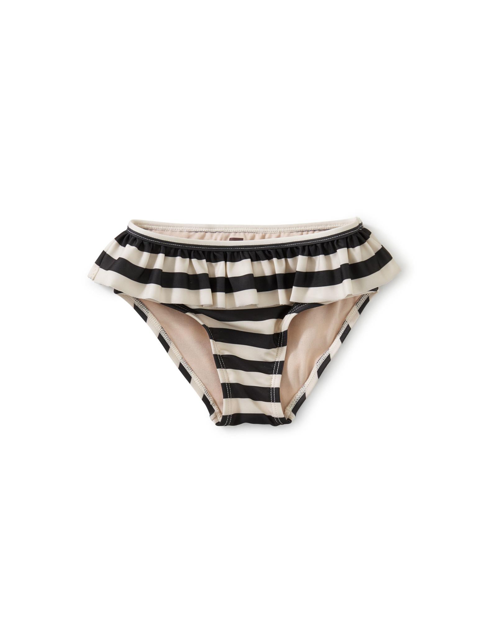 Tea Ruffled Bikini Bottom, Swim Stripe Jet Black