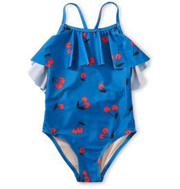 Tea Flutter One-Piece Swimsuit, Ginja Cherry in Blue