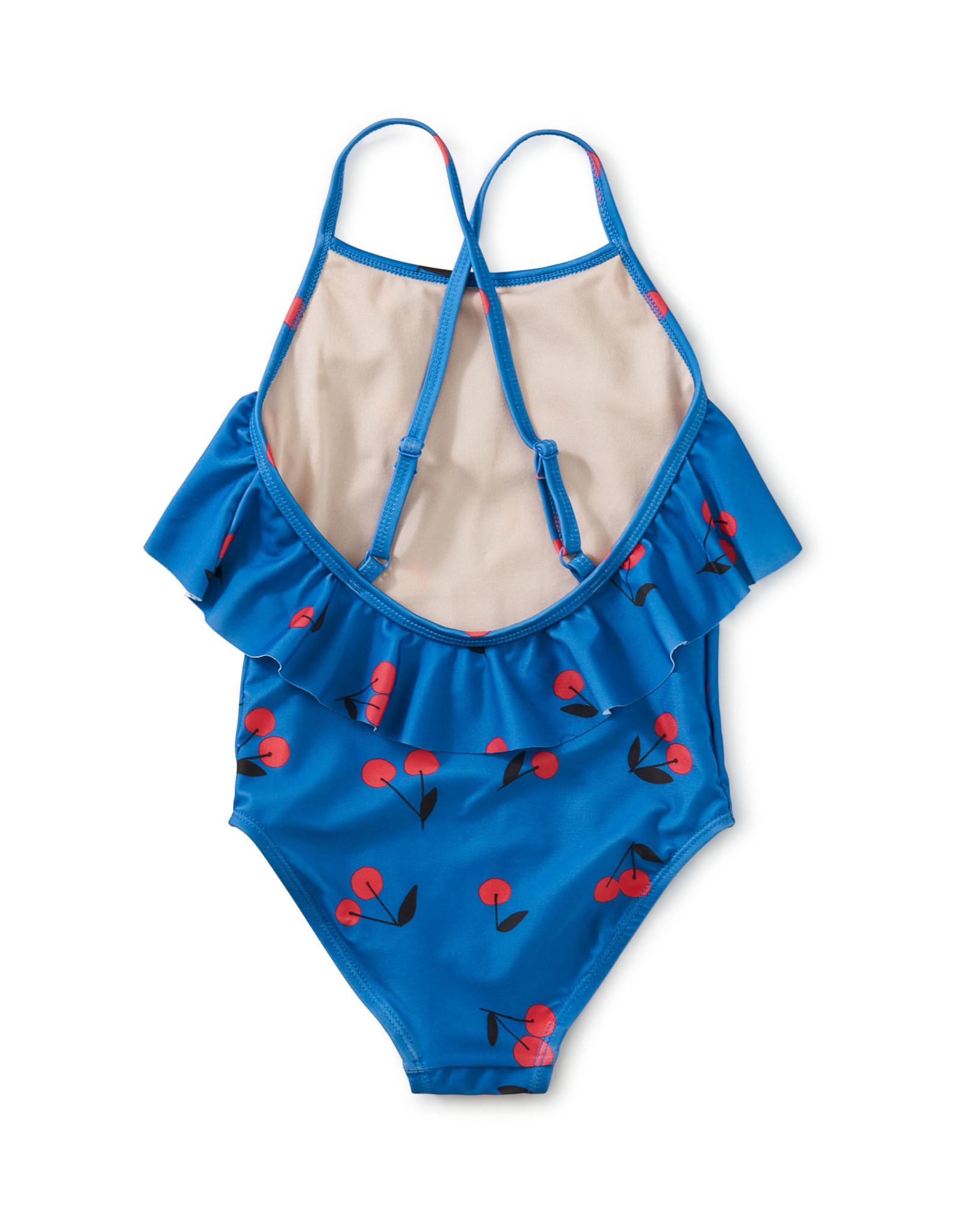 Tea Flutter One-Piece Swimsuit, Ginja Cherry in Blue