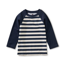 Tea Long Sleeve Baby Rash Guard, Swim Stripe in Whale Blue